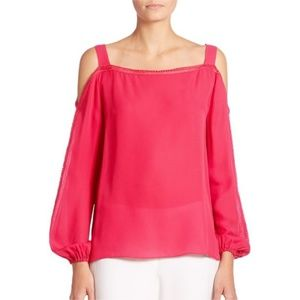 Elie Tahari Lindy Cold Shoulder Blouse Top